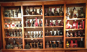 Display shelves of lanterns